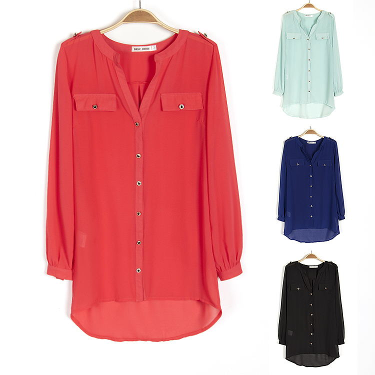 hot-2014-summer-new-women-plus-size-chiffon-blouse-fashion-v-neck-long-sleeve-shirts-casual